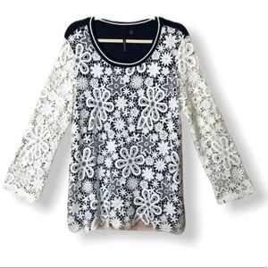 Skye's the Limit Navy/white lace top  XL